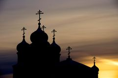 Silhouette of orthodox church Stock Photo