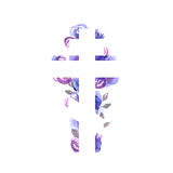 Silhouette of an orthodox cross with watercolor wash background. Silhouette of an orthodox cross against the background with roses royalty free illustration