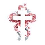 Silhouette of an orthodox cross with watercolor wash background. Silhouette of an orthodox cross against the background with roses vector illustration