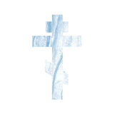 Silhouette of an orthodox cross with watercolor wash background. Silhouette of an orthodox cross with marble texture royalty free illustration