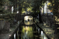 Silhouette on the Oudegracht Royalty Free Stock Photos