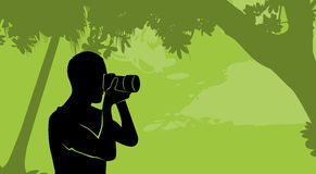 Silhouette Outdoor Nature Photographer Hold Camera Stock Image