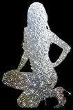 Silhouette Outline Girl. Stiletto Heels / Chrome Quicksilver Grey Superstars / Black Background Stock Image