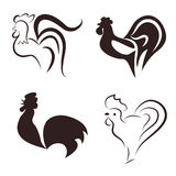 Silhouette outline of a rooster Royalty Free Stock Images