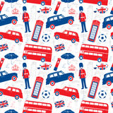 London symbols - Seamless  patten. Silhouette and outline  style - Detailed illustrations Stock Photos
