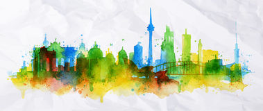 Silhouette overlay city Berlin. With splashes of watercolor drops streaks landmarks in green with blue tones Royalty Free Stock Photo
