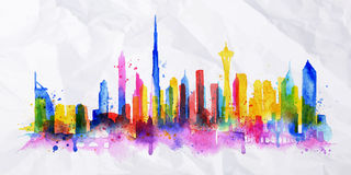 Silhouette overlay city Dubai. Silhouette overlay city painted with splashes of watercolor drops streaks landmarks in blue with pink Stock Photography