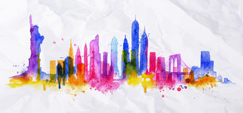 Silhouette overlay city New york. Silhouette overlay city painted with splashes of watercolor drops streaks landmarks with blue violet tones Royalty Free Stock Image
