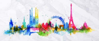 Silhouette overlay city Paris. Silhouette overlay city with splashes of watercolor drops streaks landmarks in pink with orange tones Royalty Free Stock Image