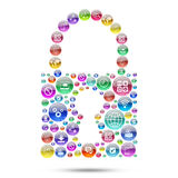 Silhouette padlock consisting of apps icons Royalty Free Stock Images