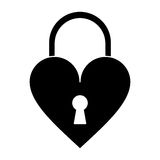 Silhouette padlock shaped heart loved Stock Photos