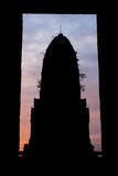Silhouette of the pagoda. Is surrounded by a frame Royalty Free Stock Photography