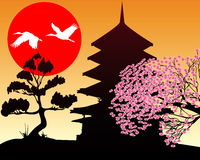 Silhouette Pagoda and cherry. Silhouette of a pagoda and a cherry on a background of the red sun Royalty Free Stock Photos