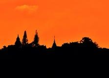 Silhouette of pagoda Stock Photos