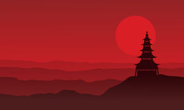 Silhouette of pagoda with moon scenery Royalty Free Stock Photo