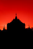 Silhouette Pagoda on red sky Royalty Free Stock Photography