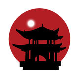 Silhouette of a pagoda on a red sun background. Black silhouette of a japanese pagoda with a rising white moon on a red sun background Royalty Free Illustration