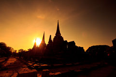Silhouette of Pagoda at the temple Royalty Free Stock Images