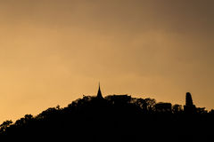 Silhouette of Pagoda on the top of mountain,Phra Nakhon Khiri Stock Photography