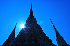 Silhouette of Pagoda at Wat Pho Royalty Free Stock Photos