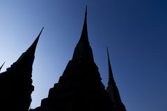Silhouette of Pagoda at Wat Pho Stock Photo