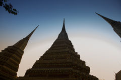 Silhouette of Pagoda at Wat Pho Stock Image