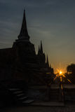 Silhouette Pagodas with sun stars Royalty Free Stock Photo