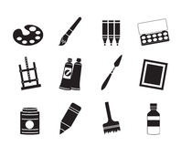 Silhouette painter, drawing and painting icons Royalty Free Stock Photography