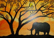 Silhouette painting on canvas created background design. As abstract wallpaper stock illustration