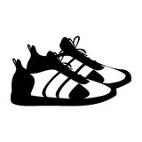 Silhouette pair black fitness sneakers design icon Royalty Free Stock Image