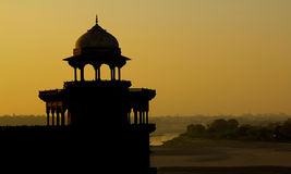 Silhouette of Palace. Agra Silhouette as taken from Taj Mahal in India Stock Photography