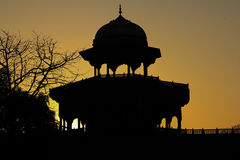 Silhouette of Palace. Agra Silhouette as taken from Taj Mahal in India Stock Image