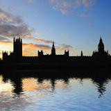 Silhouette of Palace of Westminster at dusk Royalty Free Stock Image