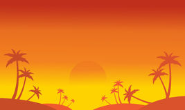 Silhouette of palm on the hill scenery Stock Photo