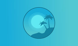 Silhouette of palm on hill seaside landscape Royalty Free Stock Images