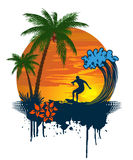 Silhouette of palm and surfer on tropical sunset Stock Photos