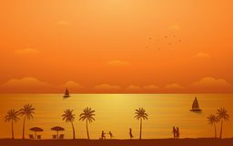 Silhouette palm tree with family and couple in flat icon design under sunset sky background Royalty Free Stock Photography
