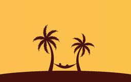 Silhouette palm tree with hammock on beach under yellow sky background. Silhouette palm tree with hammock on beach under yellow sky Royalty Free Stock Photo