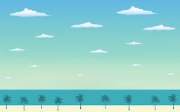 Free Silhouette Palm Tree On The Beach In Flat Icon Design And Blue Sky Royalty Free Stock Photo - 93491885