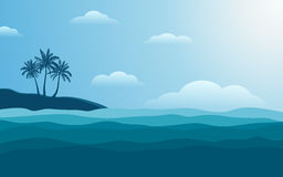 Silhouette palm tree on shore at noon with blue color sky in flat icon design background Stock Photography