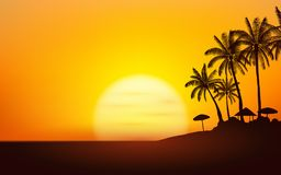 Silhouette palm tree with Umbrella Beach on island under sunset sky background royalty free illustration