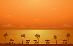 Silhouette palm tree with umbrella and chairs in flat icon design under sunset sky background Royalty Free Stock Image
