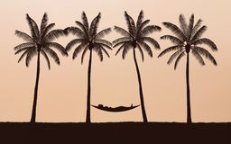 Silhouette palm tree with woman in hammock on beach under sunset sky background Stock Photo