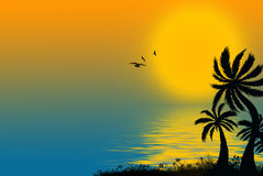 Silhouette of palm trees royalty free illustration