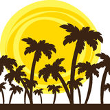 Silhouette of palm trees Royalty Free Stock Images