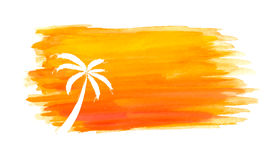 Silhouette of palm trees against the sun. Vector Royalty Free Stock Images
