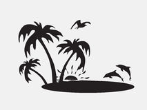 Silhouette Palm trees on the beach with fish Royalty Free Stock Photos