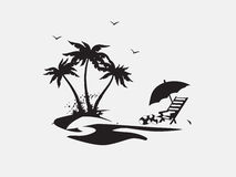 Silhouette Palm trees with lounge chairs Royalty Free Stock Photos