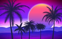 Palm trees on tropical sunrise. Silhouette of palm trees on the tropical sunrise, vector illustration Royalty Free Stock Photo