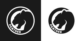 Silhouette of an panther, monochrome logo. Stock Images